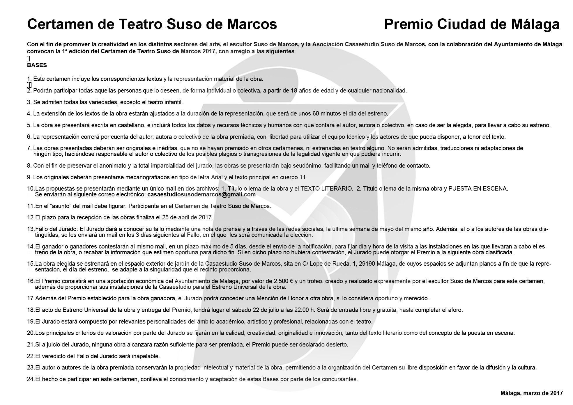CONVOCATORIA CERTAMEN DE TEATRO SUSO DE MARCOS PREMIO CIUDAD DE ...
